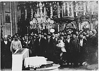 Group of Serb civilians forcibly converted at a church in Glina, after which their throats were slit or heads bashed in, as part of a massacre campaign in the area.