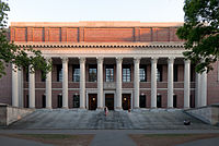 Widener Library anchors the Harvard Library system.