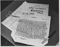 The typewritten confession received by Riverside police and the Riverside Press-Enterprise November 29, 1966