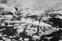 A B-24M of the 448th Bombardment Group, serial number 44-50838, downed by a Messerschmitt Me 262 jet fighter