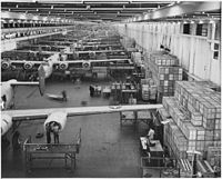 Looking up one of the assembly lines at Ford's big Willow Run plant, where B-24E (Liberator) bombers are being made.