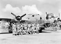 The crew of a No. 21 Squadron RAAF Liberator with their aircraft