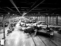 B-24s under construction at Ford Motor's Willow Run plant