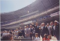President John F. Kennedy throwing out the first pitch at the 1962 All-Star Game at DC Stadium