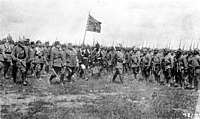 Kaiser Wilhelm II inspecting Turkish troops of the 15th Corps in East Galicia, Austria-Hungary (now Poland). Prince Leopold of Bavaria, the Supreme Commander of the German Army on the Eastern Front, is second from the left.