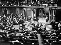 President Wilson before Congress, announcing the break in official relations with Germany on 3 February 1917