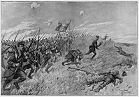A French bayonet charge at the Battle of the Frontiers; by the end of August, French casualties exceeded 260,000, including 75,000 dead.