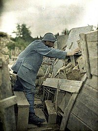 French Army lookout at his observation post, Haut-Rhin, France, 1917