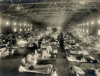 Emergency military hospital during the Spanish flu pandemic, which killed about 675,000 people in the United States alone, Camp Funston, Kansas, 1918