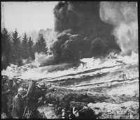 French soldiers making a gas and flame attack on German trenches in Flanders