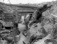 Trenches of the 11th Cheshire Regiment at Ovillers-la-Boisselle, on the Somme, July 1916