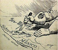 1917 political cartoon about the Zimmermann Telegram. The message was intercepted by the British; its publication caused outrage and contributed to the U.S. entry into World War I.