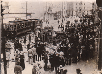 Crowds on the streets in the aftermath of the anti-Serb riots in Sarajevo, 29 June 1914