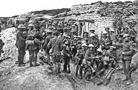 A company of the Public Schools Battalion prior to the Battle of the Somme. The Public Schools Battalions were Pals battalions raised as part of Kitchener's Army, originally made up exclusively of former public schoolboys.
