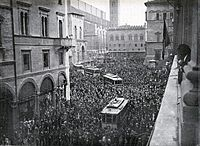 A pro-war demonstration in Bologna, Italy, 1914