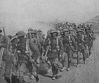 British troops on the march during the Mesopotamian campaign, 1917