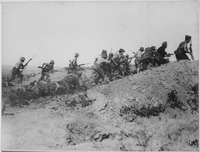 Australian troops charging near a Turkish trench during the Gallipoli Campaign
