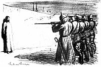 The Deserter, 1916: Anti-war cartoon depicting Jesus facing a firing squad with soldiers from five European countries