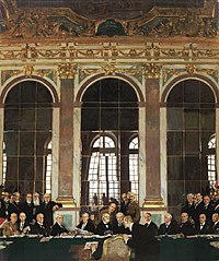 The signing of the Treaty of Versailles in the Hall of Mirrors, Versailles, 28 June 1919, by Sir William Orpen