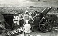 10.5 cm Feldhaubitze 98/09 and Ottoman artillerymen at Hareira in 1917 before the Southern Palestine offensive
