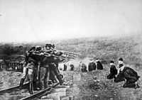 Austro-Hungarian troops executing captured Serbians, 1917. Serbia lost about 850,000 people during the war, a quarter of its pre-war population.