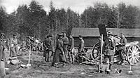 The Finnish Civil War was fought near the end of the World War I. German artillery in Malmi during the Battle of Helsinki on 12 April 1918.