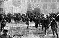 Italian troops reach Trento during the Battle of Vittorio Veneto, 1918. Italy's victory marked the end of the war on the Italian Front and secured the dissolution of the Austro-Hungarian Empire.