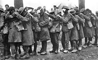 British 55th (West Lancashire) Division soldiers blinded by tear gas during the Battle of Estaires, 10 April 1918