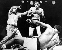 Ingemar Johansson knocks out Floyd Patterson and becomes boxing heavyweight champion of the world, June 26, 1959.
