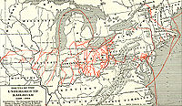 A map of various Underground Railroad routes