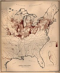 German population density in the United States, 1870 census