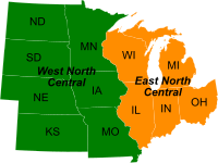 Divisions of the Midwest by the U.S. Census Bureau into East North Central and West North Central, separated largely by the Mississippi River.