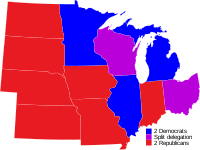 Midwestern U.S. Senators by party for the 117th Congress