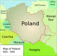 Poland under the rule of Duke Mieszko I, whose acceptance of Christianity and the subsequent Baptism of Poland marks the beginning of Polish statehood in 966