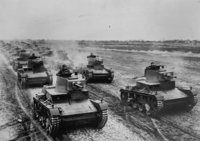 Polish army's 7TP tanks on military manoeuvres shortly before the Invasion of Poland in 1939.