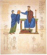 Earliest known contemporary depiction of a Polish monarch, King Mieszko II Lambert of Poland, who ruled between 1025 and 1031