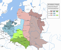 The partitions of Poland, carried out by the Kingdom of Prussia, the Russian Empire, and the Habsburg Monarchy in 1772, 1793 and 1795