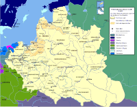 The Polish–Lithuanian Commonwealth at its greatest extent after the Truce of Deulino. During the first half of the 17th century, the Commonwealth covered an area of about 1,000,000 km2.