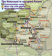 Map of the Holocaust in German occupied Poland with deportation routes and massacre sites. Major ghettos are marked with yellow stars. Nazi extermination camps are marked with white skulls in black squares. The border in 1941 between Nazi Germany and the Soviet Union is marked in red.