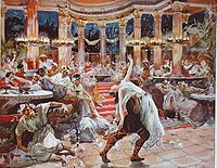 Banquet in Nero's Palace, an illustration from a 1910 print of Quo Vadis, a historical novel written by Nobel Prize laureate Henryk Sienkiewicz
