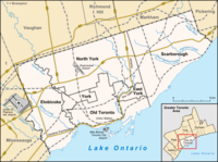 Map of Toronto with major traffic routes. Also shown are the boundaries of six former municipalities, which form the current City of Toronto.