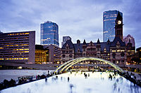 Nathan Phillips Square is the city's main square. The square includes a reflecting pool that is converted into an ice rink during the winter.
