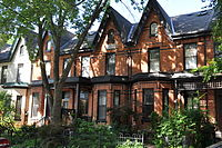 Victorian-era Bay-and-gable houses are a distinct architectural style of residence that is ubiquitous throughout the older neighbourhoods of Toronto.
