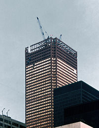 Construction of First Canadian Place, the operational headquarters of the Bank of Montreal, in 1975. During the 1970s, several Canadian financial institutions moved to Toronto.