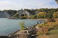 The Scarborough Bluffs is an escarpment, formed during the Last Glacial Period as part of the Glacial Lake Iroquois shoreline, which runs along the eastern portion of the Toronto waterfront.