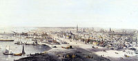 View of Toronto in 1854. Toronto became a major destination for immigrants to Canada in the second half of the 19th century.