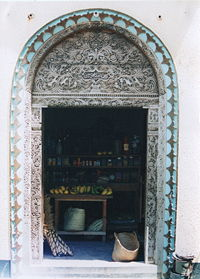 A traditional Swahili carved wooden door in Lamu.