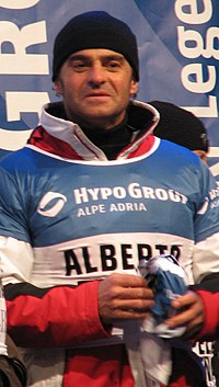 Alberto Tomba, winner of five Olympic medals in Calgary, Albertville and Lillehammer