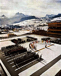 The opening ceremonies of the 1956 Winter Olympics in Cortina d'Ampezzo