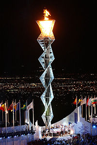 Olympic flame during the Opening Ceremony of the 2002 Games in Salt Lake City